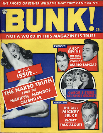 Bunk! Magazine #1: Marilyn photo cover. Click for values