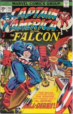 Captain America #196 Marvel 30 Cent Price Variants April, 1976. Regular Blurb