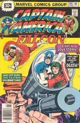 Captain America #198 Price Variant June, 1976. Starburst Blurb