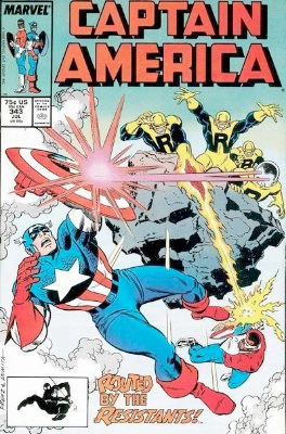 Origin and First Appearance, Resistants, Captain America #343, Marvel Comics, 1988. Click for value