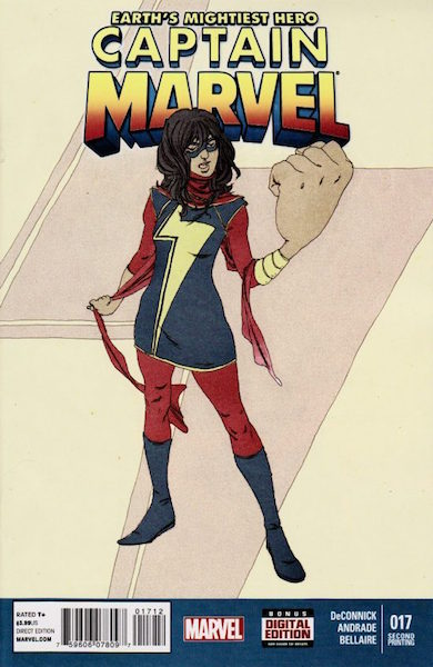 Captain Marvel #17 2nd Print Variant: Hotly Sought-After, cameo of Kamla Kahn, the new Ms. Marvel. Click for values
