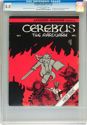 There are few choices when it comes to Cerebus the Aardvark #1. The best you can get may well be in the CGC 8.0 range. Click to buy