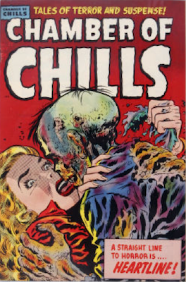 Chamber of Chills #23 (1954): Classic horror comic books cover, Woman kissing Zombie! Click for value