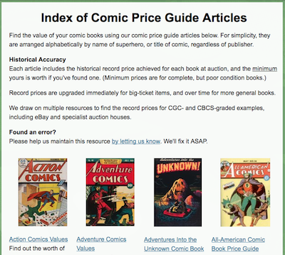 Prefer to Do Your Own Research? Check Out Our Comic Price Guide Menu