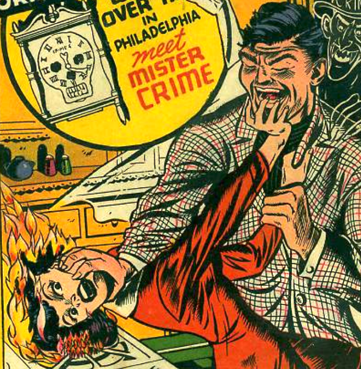 The notorious cover image, showing a woman's hair being set on fire by a laughing man, has made CDNP #24 one of the most sought-after crime comic books of all time