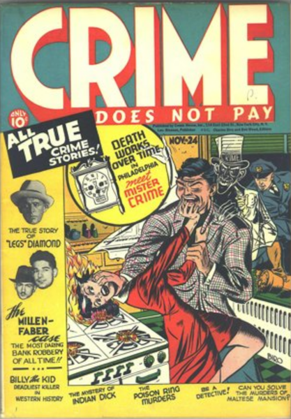 Crime Does Not Pay #24 (1942): Criminal Pushes Woman's Head on to Flaming Stove. Click for value