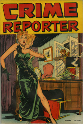 Crime Reporter #3: classic Matt Baker cover. Click for values