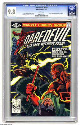 Crisp, CGC 9.8 copies of Daredevil #168 are not cheap, but they are the best investment thanks to the 1st Elektra appearance. Click to buy