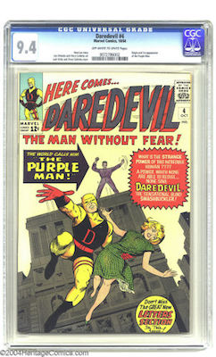 Daredevil #4: 1st Purple Man. Under-valued? You can get a 9.4 for around $1400. Compare that to Spidey keys! Click to buy yours