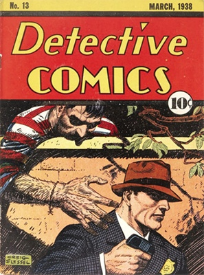 Very creepy cover image on Detective Comics #13. Click for value