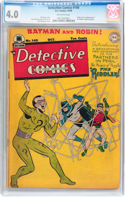 Detective Comics #140 is EXPENSIVE. There are only 96 unrestored copies graded by CGC. This isn't for everybody. If you can afford one, click to buy