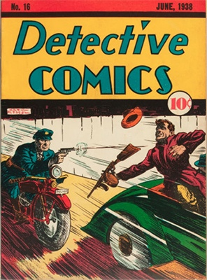Detective Comics #16 features a dramatic high-speed gangster chase. Click for values