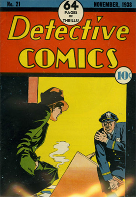 Detective Comics #21, one of the last pre-hero books before Batman. Click for values