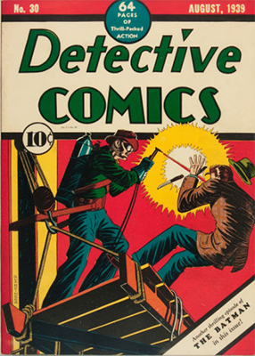 Detective Comics #30, August 1939, again no Batman on the cover. Click for value
