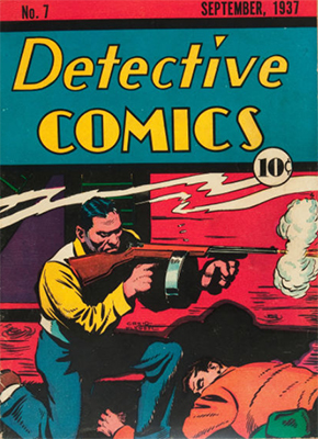 Classic tommy gun cover on Detective Comics #7