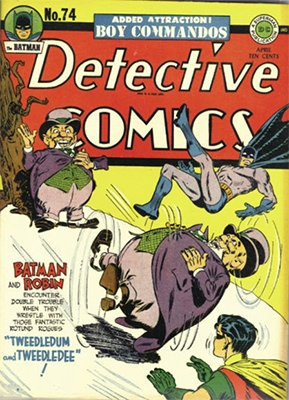 Origin and First Appearance, Tweedledum, Tweedledee, Detective Comics #74, DC Comics, 1943. Click for value