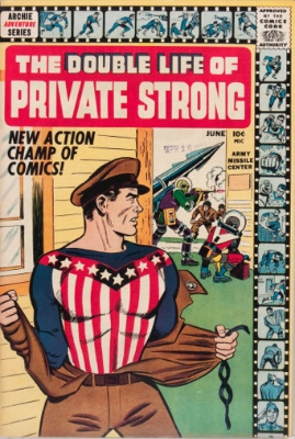 First Appearance, The Fly, Double Life of Private Strong #1, Archie Comics, 1959. Click for values
