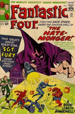 Origin and First Appearance, Hate-Monger, Fantastic Four #21, Marvel Comics, 1963. Click for value