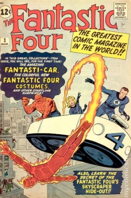 Fantastic Four comic #3: First costumes, first HQ, first Fantasticar. Click for market value