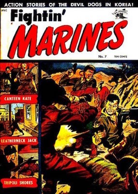 Fightin' Marines #7. Matt Baker war cover. Click for values