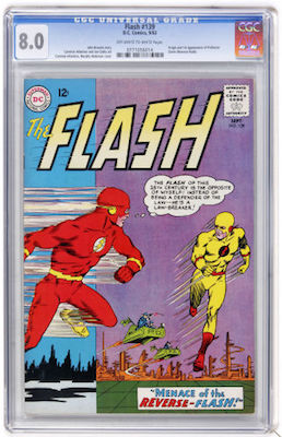 Low-grade copies of Flash #139 are still bought because Reverse Flash/Professor Zoom is hot. But look for a VF if you want to invest. Click to buy
