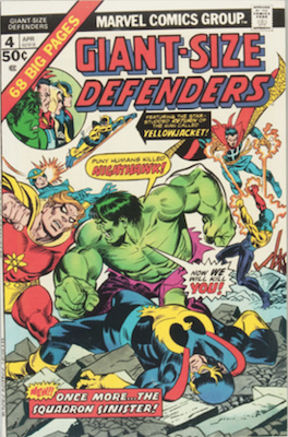 Giant-Size Defenders #4: Yellowjacket and Wasp fight Egg-Head. Click for values