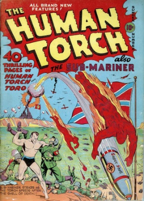 Human Torch by Timely Comics. Many of them had war covers. Click for values