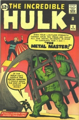 Key Issue Comics: Incredible Hulk 6, 1st Metal Master, Last in Series. Click for value