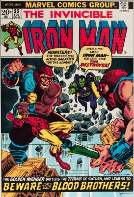 Origin and First Appearance, Thanos, Iron Man #55, Marvel Comics, 1973. Click for value