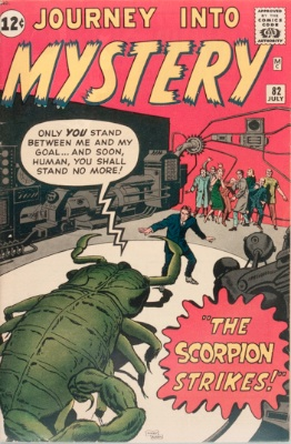 Origin and First Appearance, Scorpion, Journey into Mystery #82, Marvel Comics, 1962. Click for value