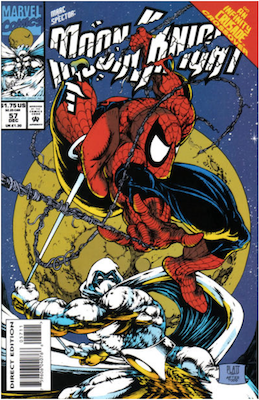 Marc Spector: Moon Knight #57 (1993); Spider-Man appearance. Click for values.