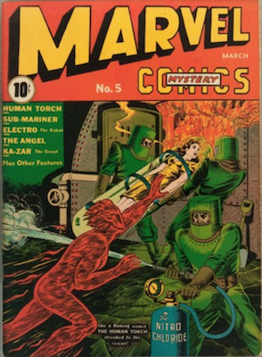 Marvel Mystery Comics #5 (Mar 1940): Timely, Human Torch Cover. Click for values of this rare comic book