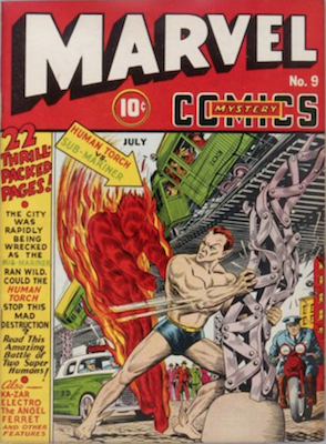 Marvel Mystery Comics #9: Classic Sub-Mariner vs Human Torch cover. Click for values