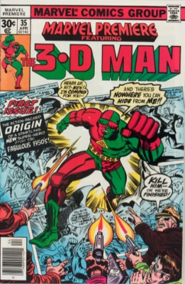 Origin and First Appearance, 3-D Man, Marvel Premiere #35, Marvel Comics, 1977. Click for value