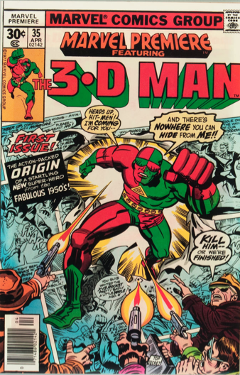 Marvel Premiere #35 (April, 1977): Origin and First Appearance, 3-D Man. Click for value