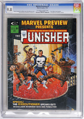 Marvel Preview #2 is the first Punisher origin story. Click to find your CGC 9.8 copy -- the best grade to own this book -- with white pages
