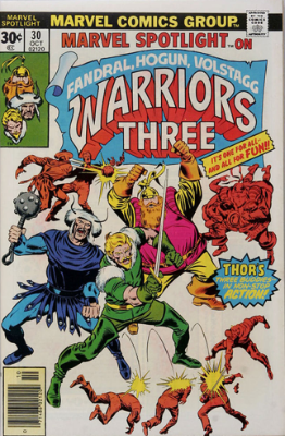 Marvel Spotlight #30, October, 1976: Warriors Three. Click for value