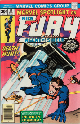 Marvel Spotlight #31, December, 1976: Nick Fury, Agent of S.H.I.E.L.D. Click for value