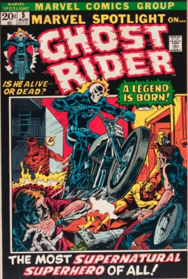 Origin and First Appearance, Ghost Rider, Marvel Spotlight #5, Marvel Comics, 1972. Click for values