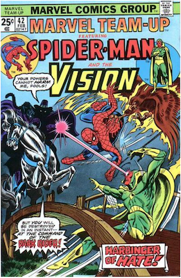Marvel Team-Up #42: Spider-Man and The Vision. Click for values.