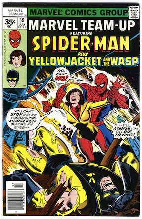 Marvel Team-Up #59: Spider-Man teams up with Wasp and Yellowjacket. Click for values