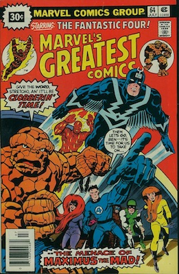 Marvel's Greatest Comics #64 30c Price Variant July, 1976. Starburst Price Flash
