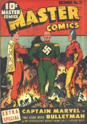 Origin and First Appearance, Captain Nazi, Master Comics #21, Fawcett Comics, 1941. Click for value