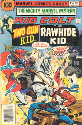 RARE! Mighty Marvel Western #45 30 Cent Price Variant July, 1976. Price in Starburst