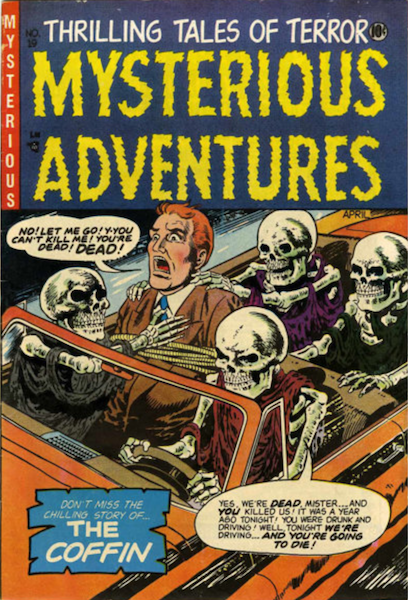 Mysterious Adventures #19 (1954): Undead Motorists Come Back for Revenge! Click for value