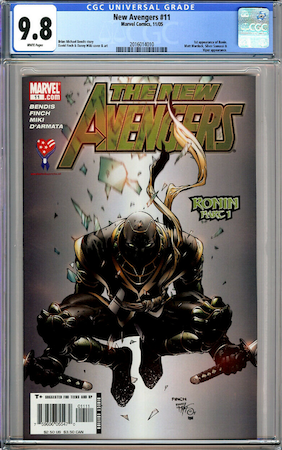 Hot Comics #100: New Avengers 11, 1st Appearance of Ronin. Click to buy a copy