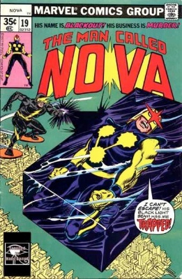 Origin and First Appearance, Blackout, Man Called Nova #19, Marvel Comics, 1974. Click for value