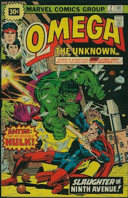 Omega the Unknown #2 30c Price Variant May, 1976. Price in Starburst