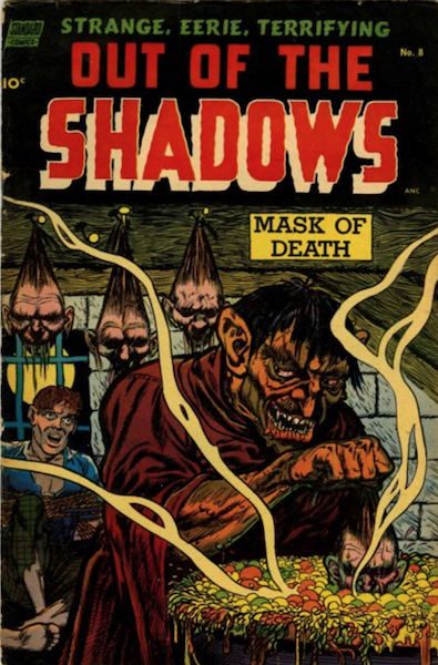 Out of the Shadows #8 (1954): Monster Shrinking Human Heads cover! Click for value