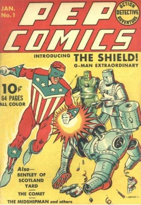 Pep Comics #1. First appearance of The Shield and The Comet. Click for values